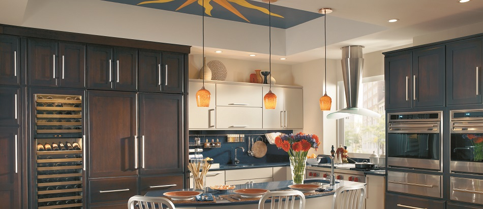 Transitional-Kitchen-in-Dark-Cherry-Wood-with-Euro-Style-White-Slab-Doors